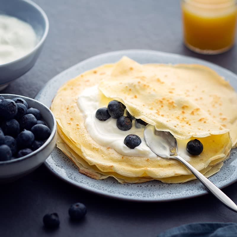 Photo of French crepes with yoghurt and blueberries by WW