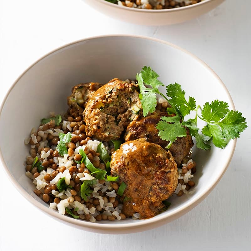 Photo of Curried meatballs with lentil rice by WW