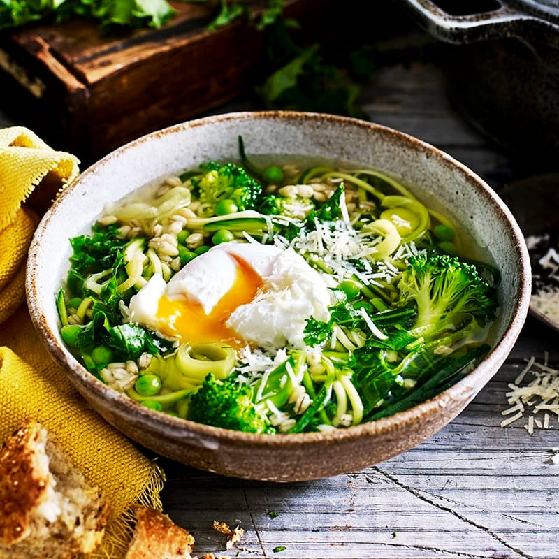Photo of Green vegetable and barley soup by WW