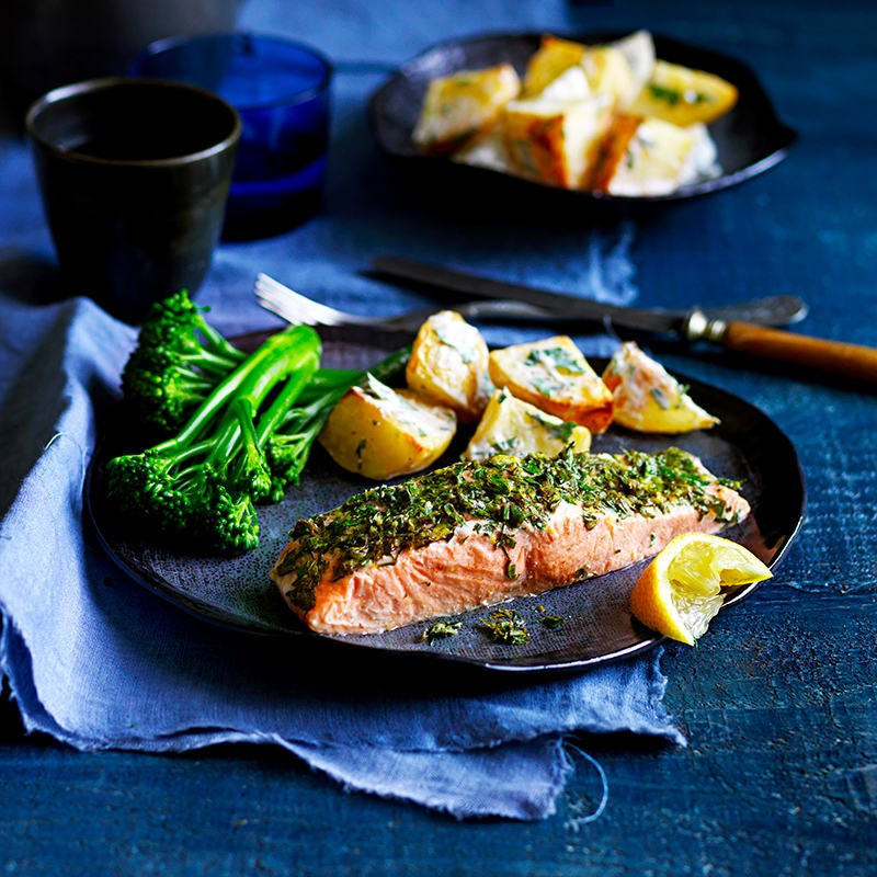 Photo of Herb-baked salmon with warm potato salad by WW
