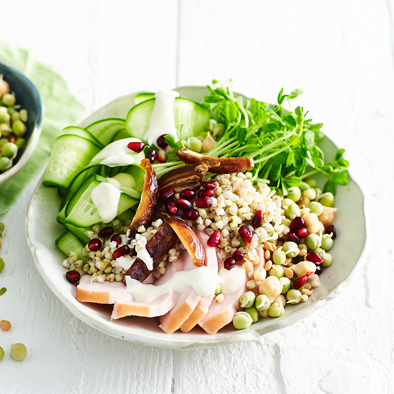 Photo of Buckwheat, chicken, cucumber and pomegranate bowl by WW