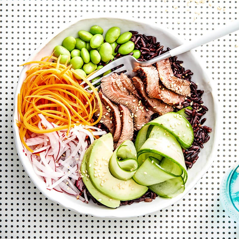 Photo of Grilled beef and black rice sushi bowl by WW