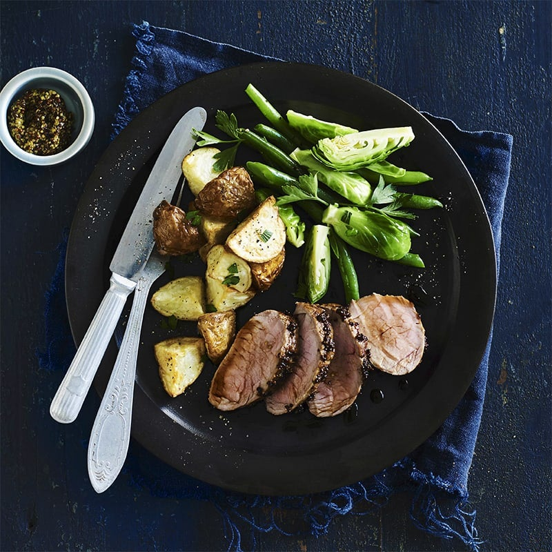 Photo of Air fryer balsamic and mustard pork fillet with roasted potatoes by WW
