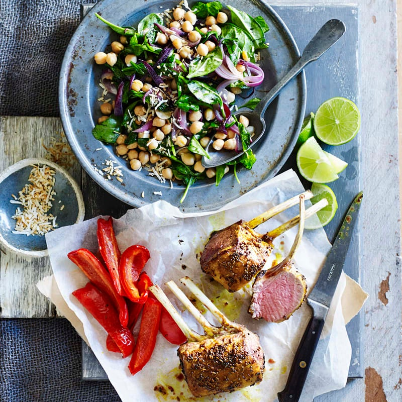 Photo of Indian-spiced lamb rack with coconut and chickpea salad by WW