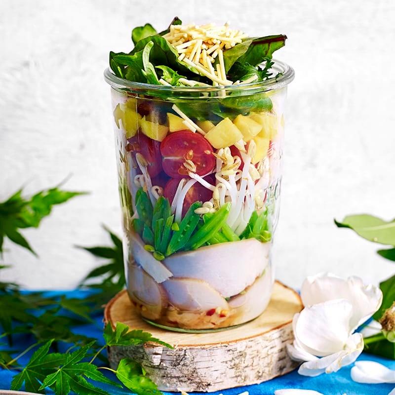 Photo of Smoked chicken, mango and sugar snap peas salad jar by WW
