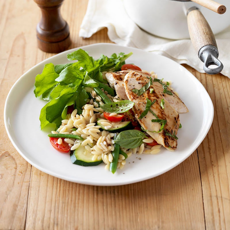 Photo of Basil chicken with tomato and zucchini risoni by WW