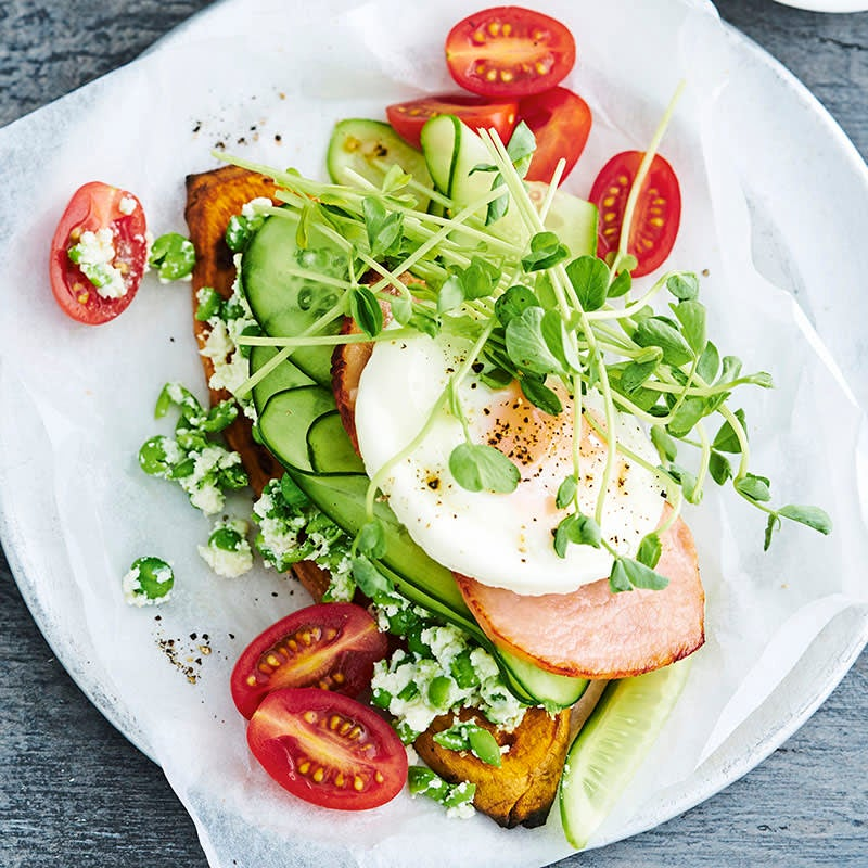 Photo of Sweet potato toast with egg and bacon by WW