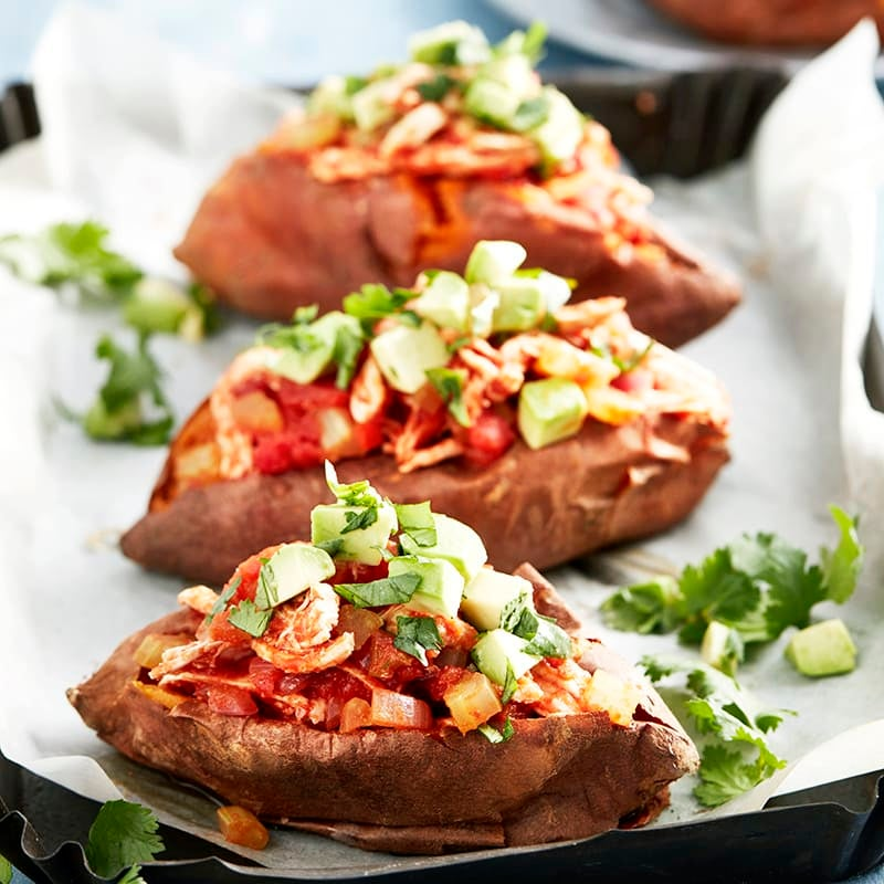 Photo of Baked sweet potatoes with chilli chicken and avocado salsa by WW