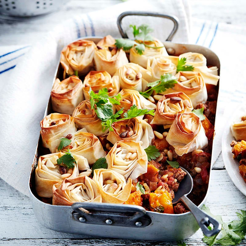 Photo of Moroccan-spiced pumpkin and lamb filo pie by WW