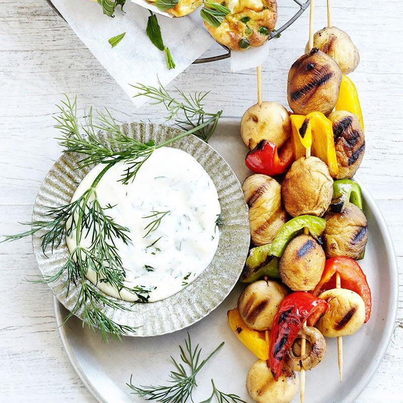 Photo of Vegie kebabs with yoghurt dressing by WW