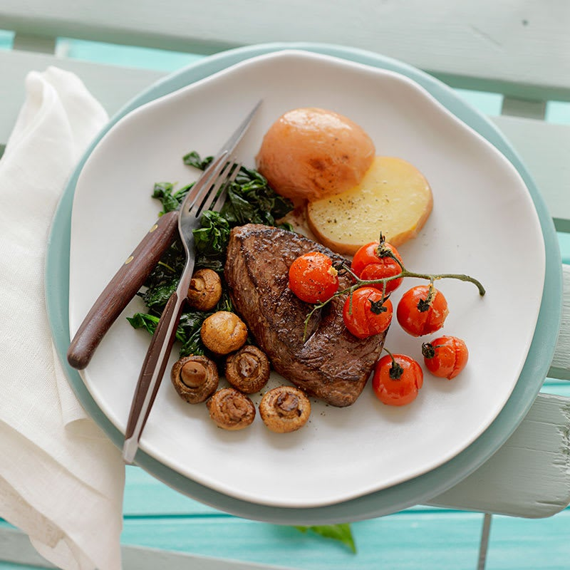 Photo of Balsamic marinated steaks with roasted mushrooms and tomatoes by WW