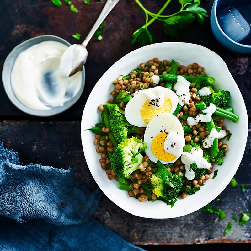 Photo of Lentil, broccoli and egg salad with tahini dressing by WW