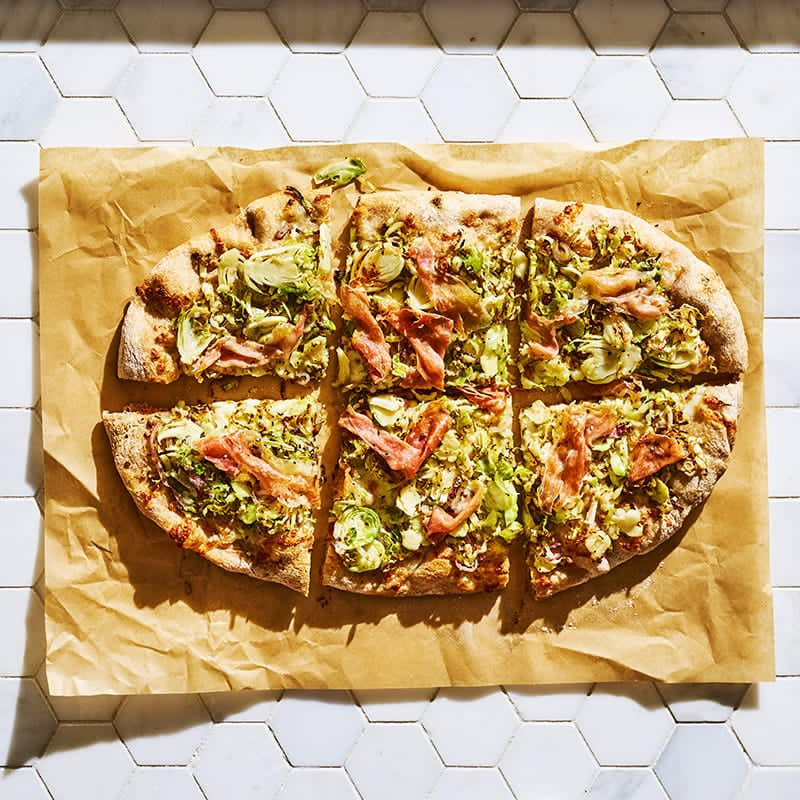 Photo of Brussels sprouts and prosciutto pizza by WW