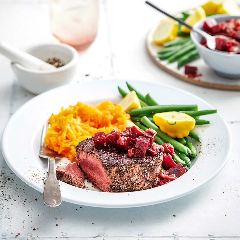 Photo of Peppered beef with beetroot relish by WW