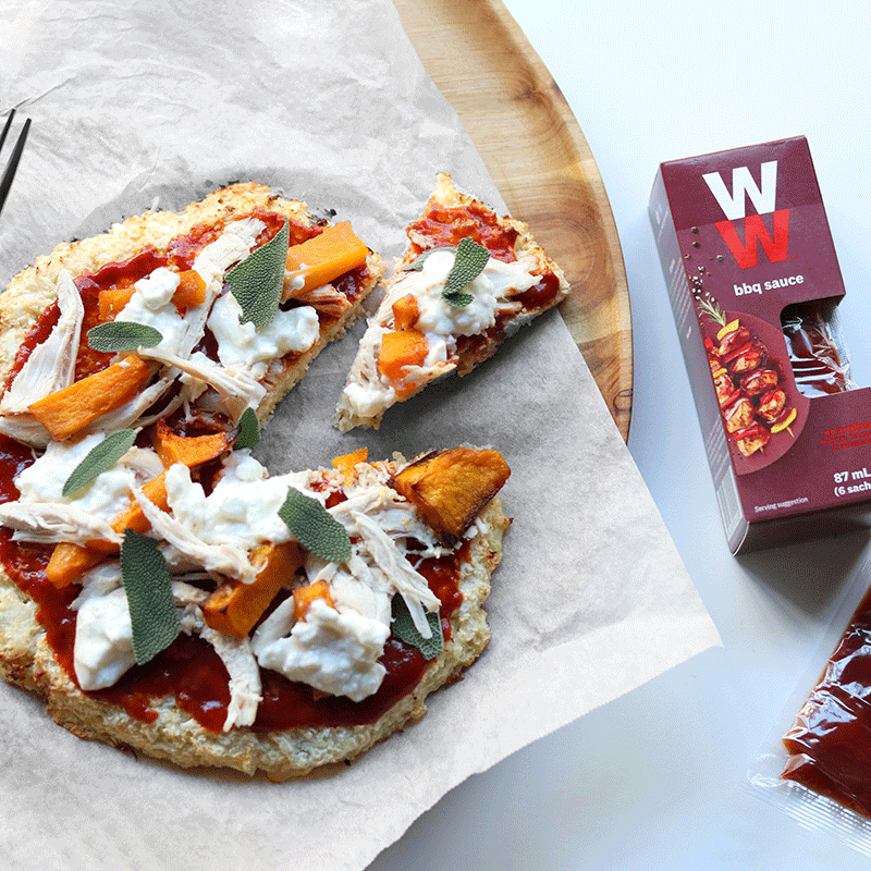 Photo of Cauliflower pizza with chicken, pumpkin and barbecue sauce by WW