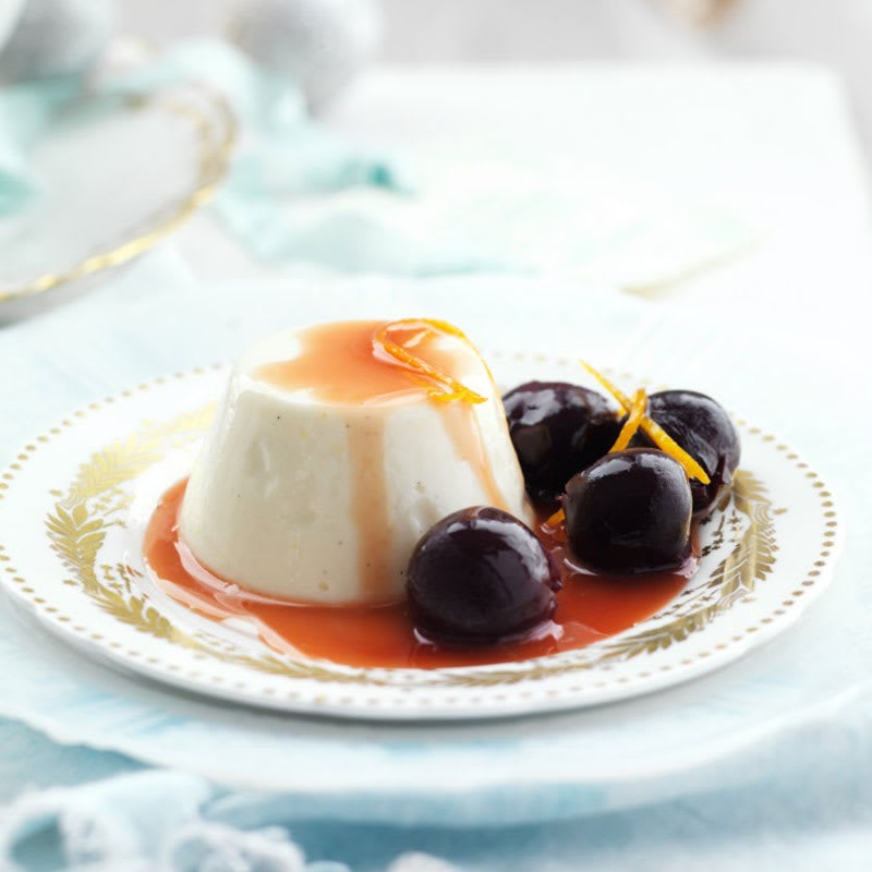 Photo of Orange scented panna cotta with poached cherries by WW