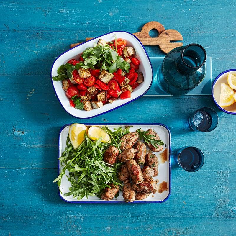 Photo of Turkey koftas with roasted vegetable salad by WW
