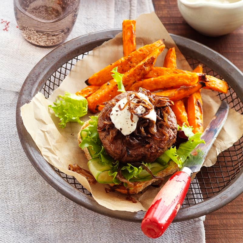 Photo of Beef burger with balsamic caramelised onions and sweet potato fries by WW