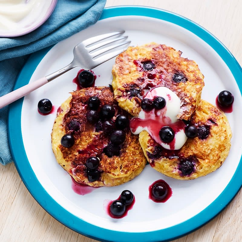 Photo of Shellie's blueberry cottage cheese pancakes by WW