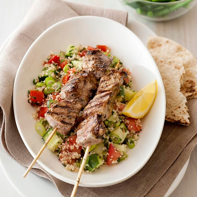 Photo of Yoghurt marinated lamb skewers with tabouli by WW