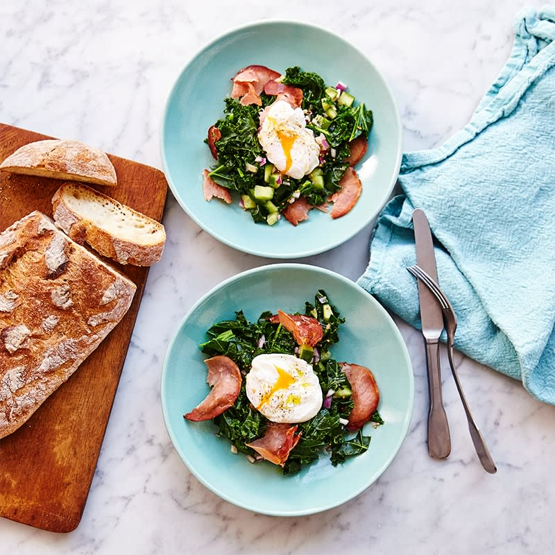 Photo of Kale, pancetta and poached eggs by WW