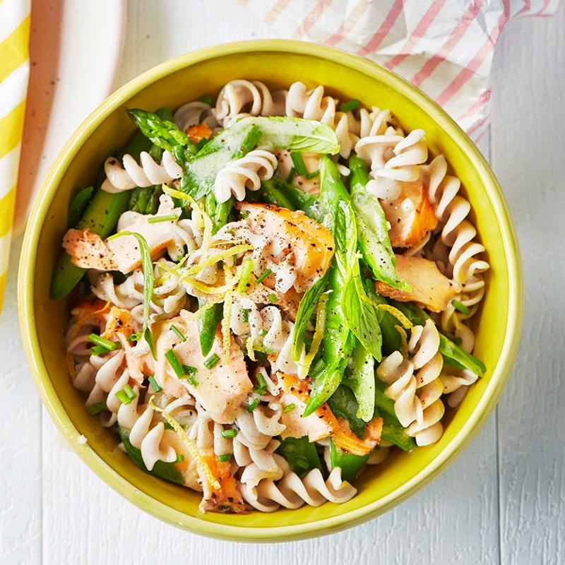Photo of Hot smoked salmon, pasta and vegetable salad by WW