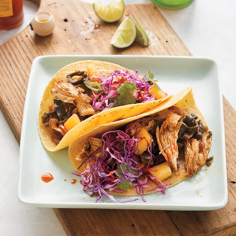 Photo of Slow-cooker chicken tacos with pineapple slaw by WW