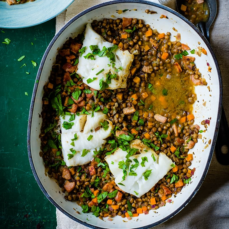 Photo of Fish with braised bacon lentils by WW