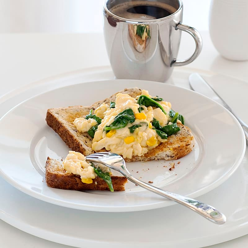 Photo of Spinach and corn scrambled eggs by WW