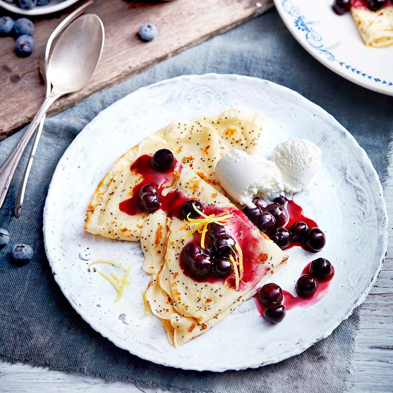 Photo of Lemon poppy seed crêpes with blueberry sauce by WW
