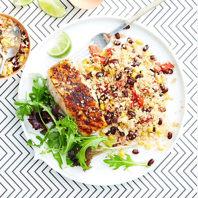 Photo of Cajun fish with black beans and cauliflower 'rice' by WW