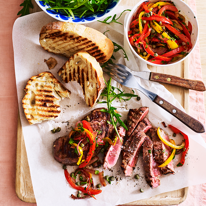 Photo of Grilled lamb with pepperonata and garlic toast by WW
