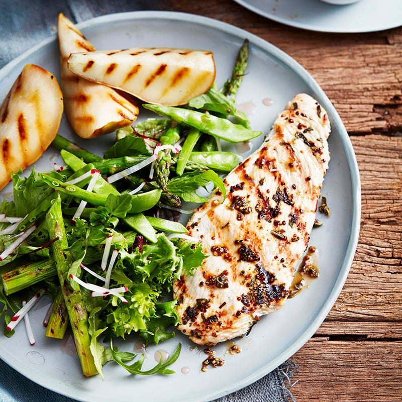 Photo of Sage and mustard turkey steaks with grilled pears by WW