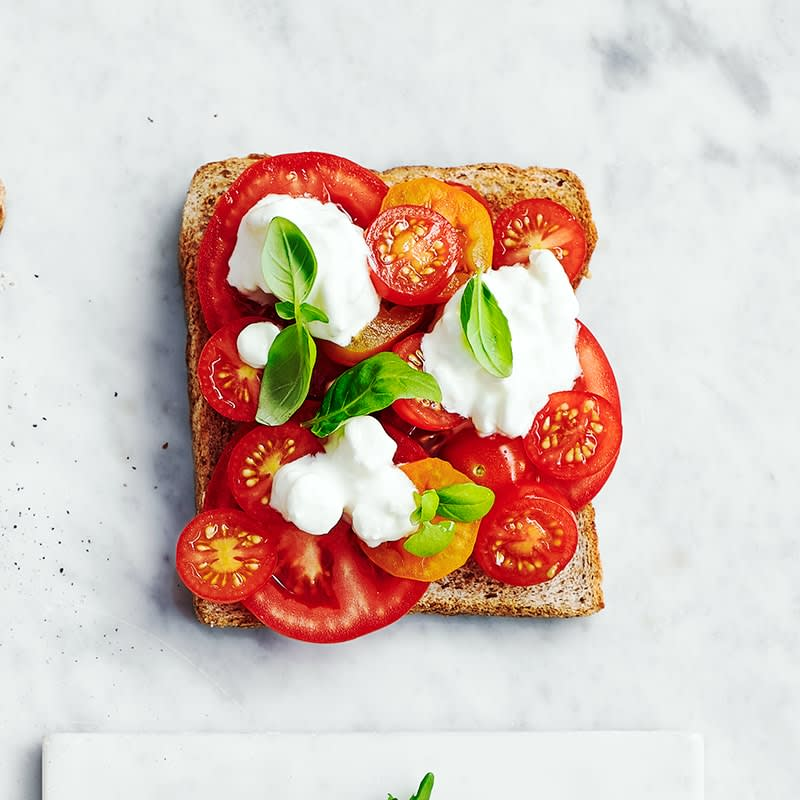 Photo of Cottage cheese, tomato and basil toast topper by WW