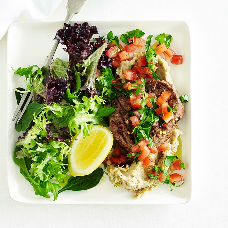 Photo of Chilli lamb steaks with eggplant puree and tabbouleh by WW