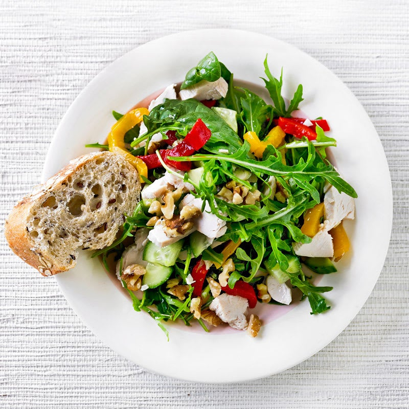 Photo of Chopped chicken, roasted capsicum, walnut and rocket salad by WW