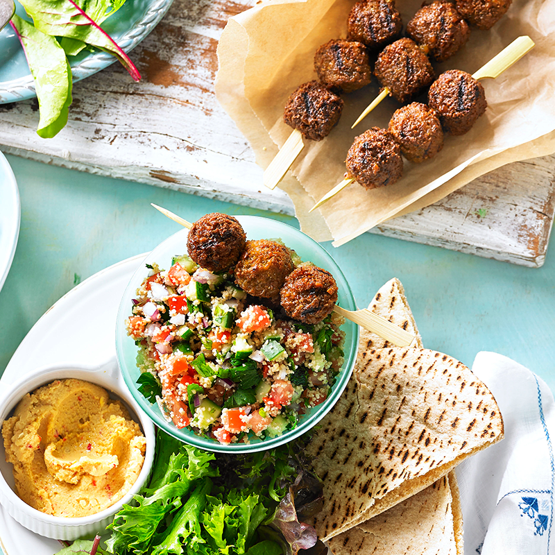 Photo of Falafel skewers with chilli hummus and couscous by WW