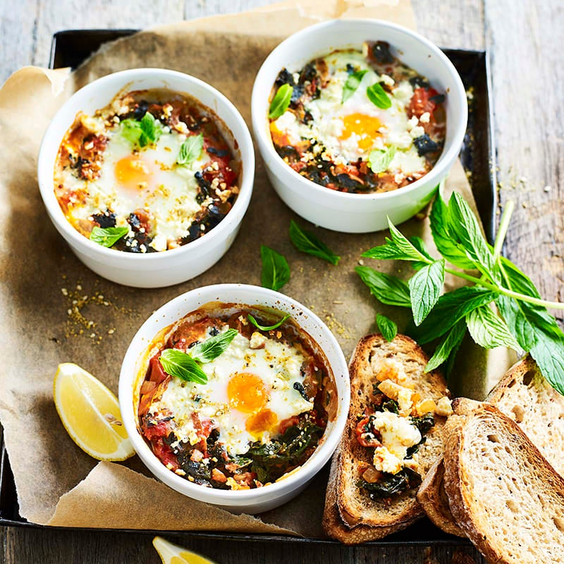 Photo of Baked eggs with silverbeet and dukkah by WW