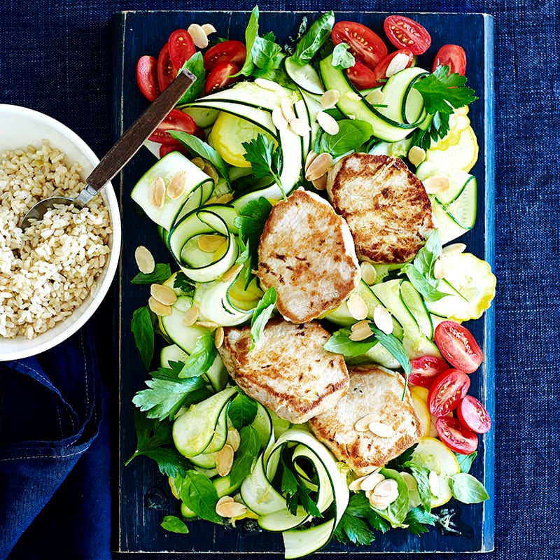 Photo of Grilled pork with zucchini ribbon salad by WW