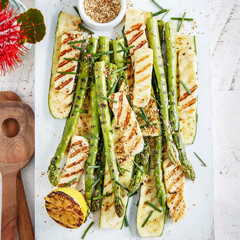Photo of Grilled asparagus, zucchini and haloumi by WW