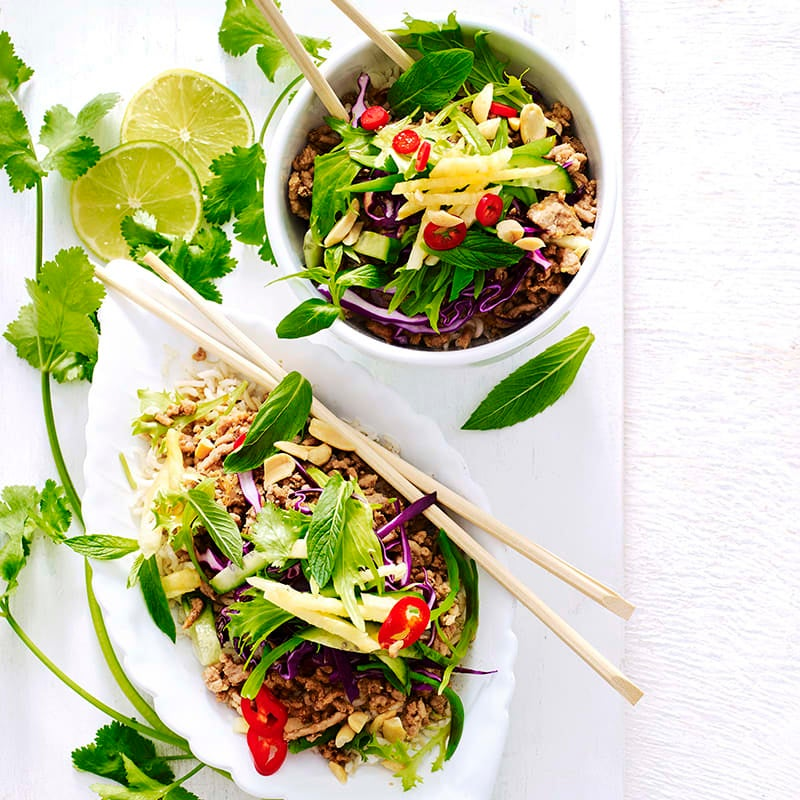 Photo of Asian pork, pineapple and herb rice bowls by WW