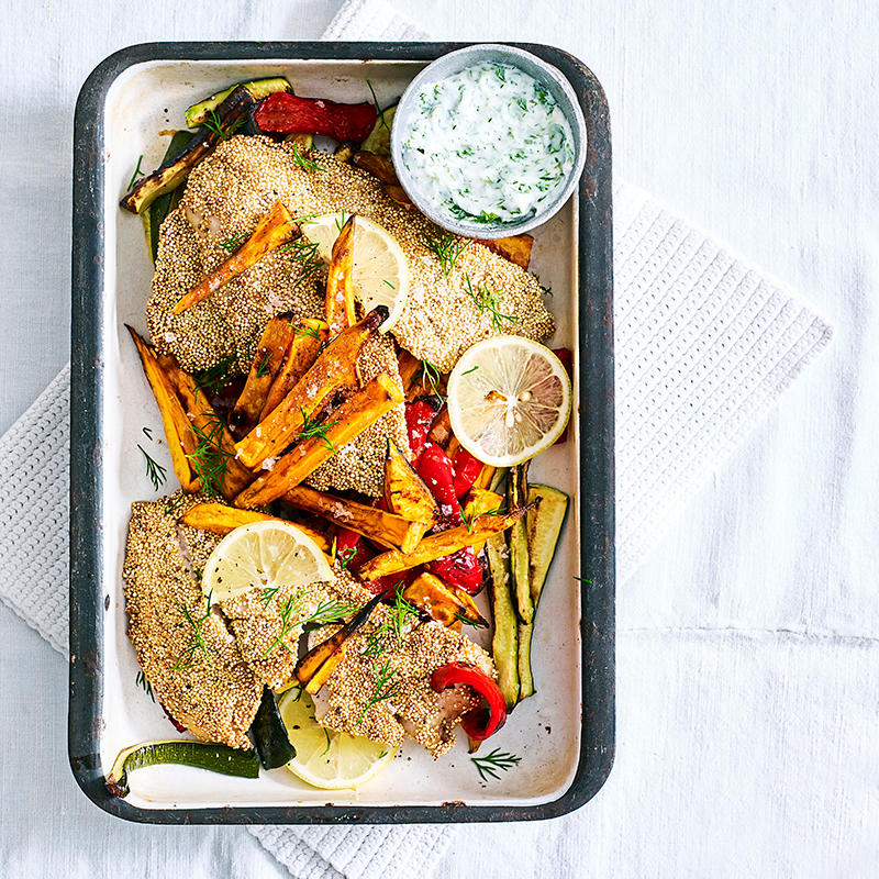 Photo of Quinoa crumbed fish with vegetable chips by WW