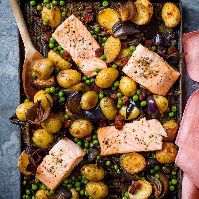 Photo of Roast salmon with peas, potatoes and chorizo by WW