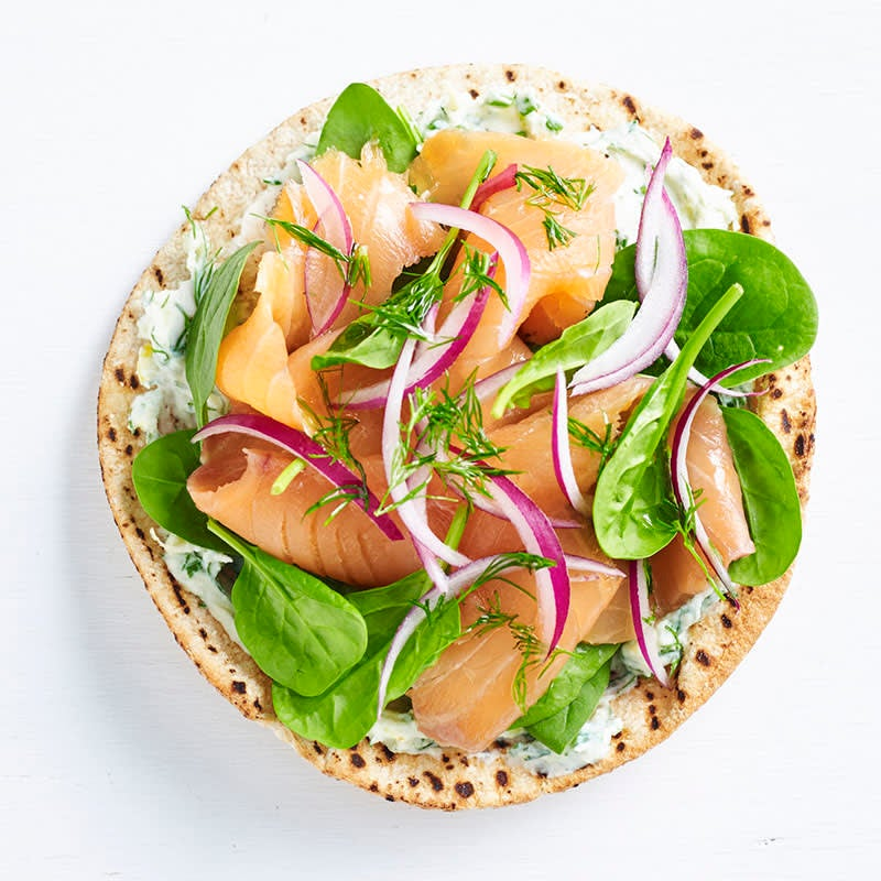 Photo of Smoked salmon, herb ricotta and spinach pizza by WW