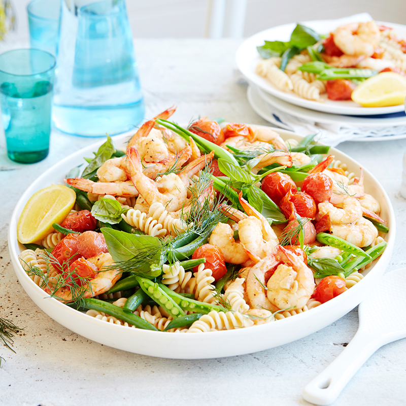 Photo of Garlic prawn pasta salad with tomatoes and herbs by WW