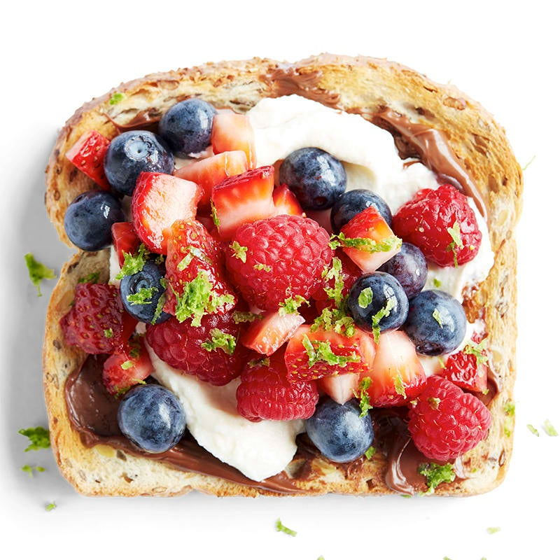 Photo of Citrus mixed berries with choc-hazelnut and ricotta toast topper by WW