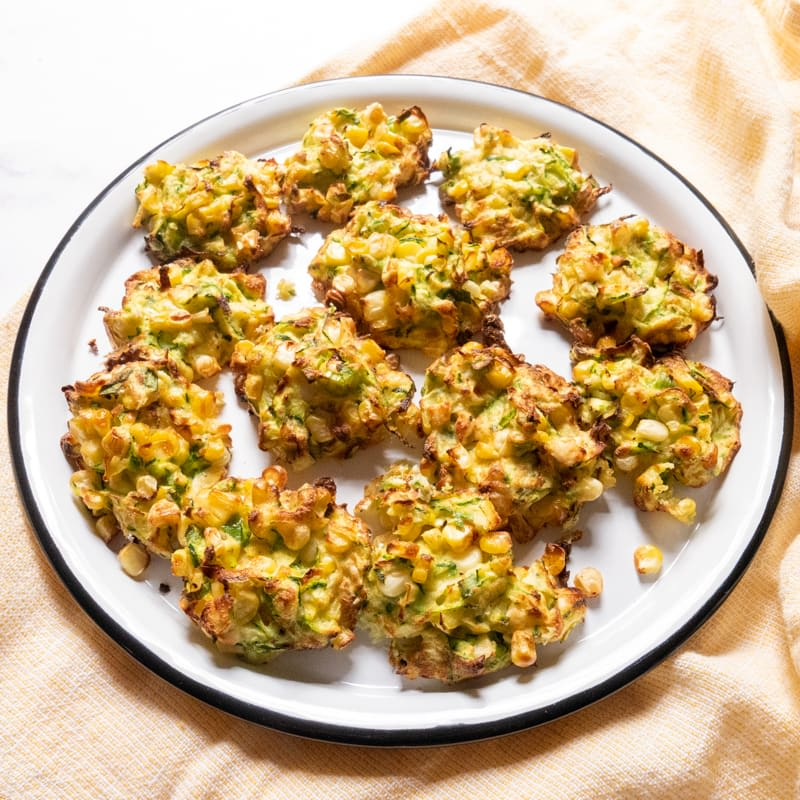 Photo of Air-fryer zucchini, corn and feta fritters by WW