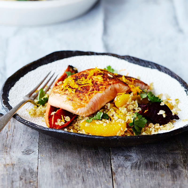 Photo of Moroccan salmon with roasted carrot, beetroot and freekeh salad by WW