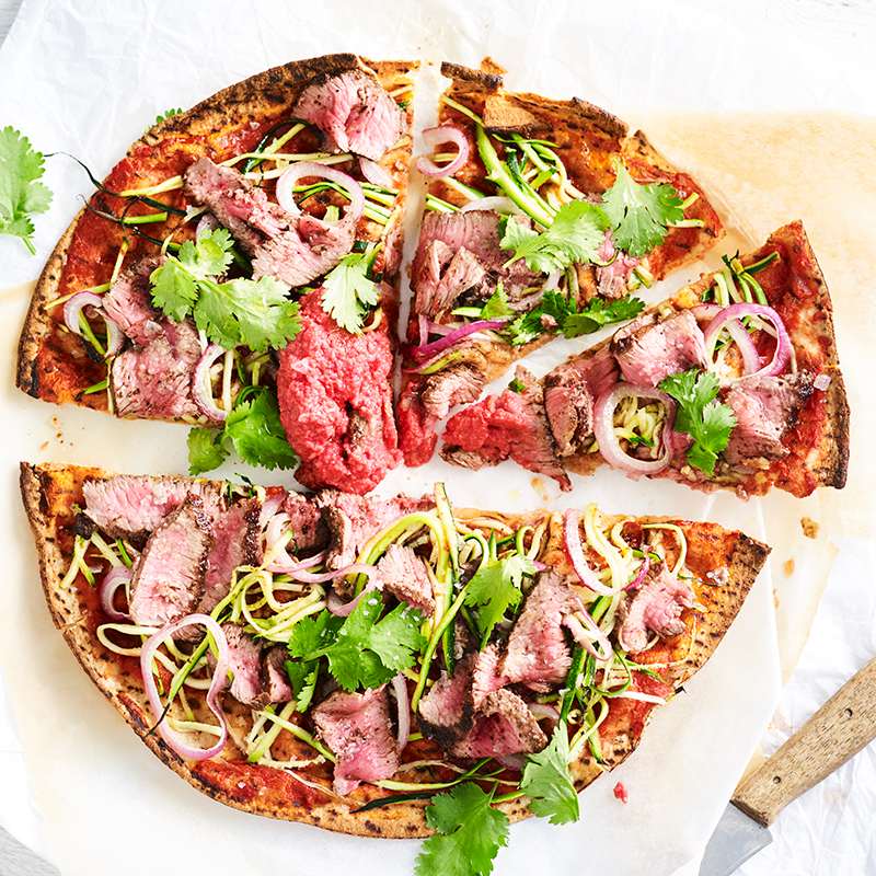 Photo of Middle Eastern lamb pizza with beetroot hummus by WW