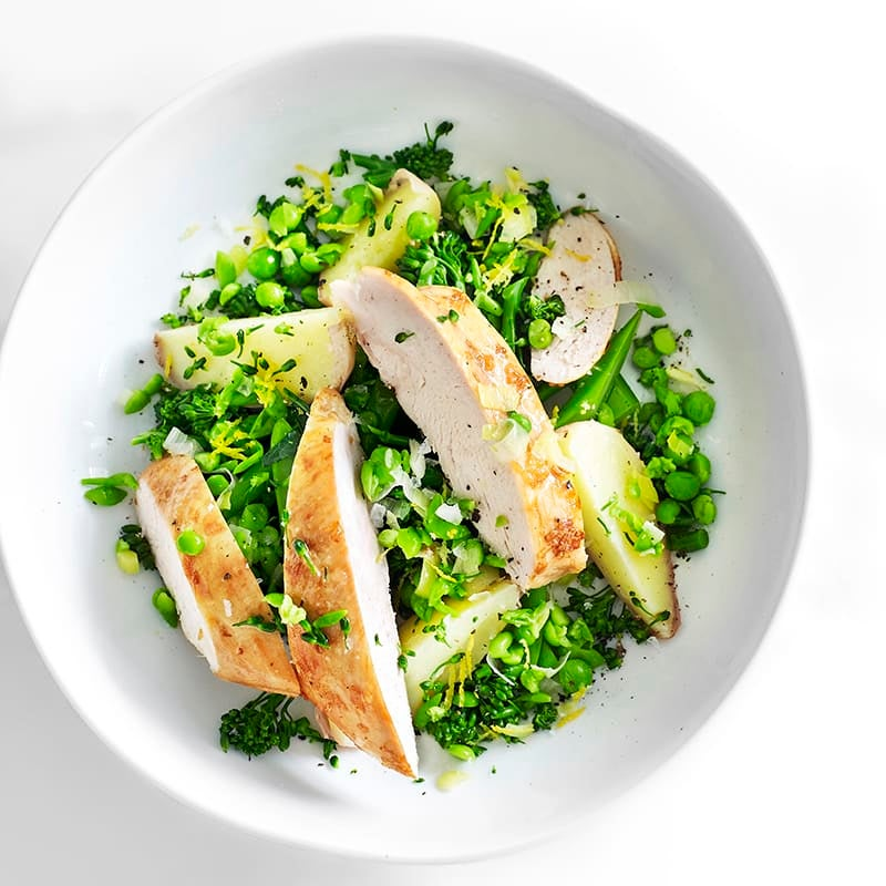 Photo of Garlicky roast chicken with crushed lemon peas by WW